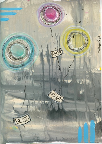 Abstract drippy paint journal page