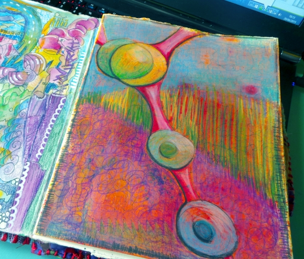 Art journal page color pencil abstract