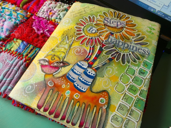 art journal collage and paint
